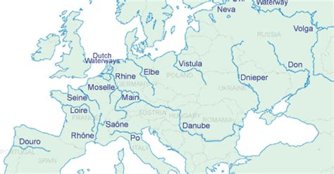 Important Facts about major rivers of Europe Continent